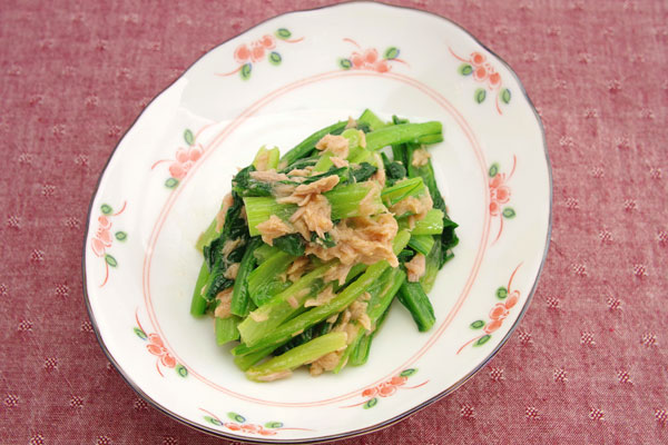 レシピ名 「エスニック風小松菜とツナ和え」