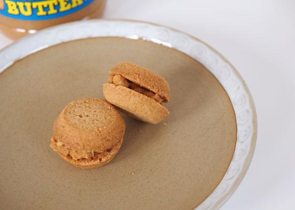 プレーンなバタークッキーに「ジェイビーズファクトリー ピーナッツバター クランチ」をはさんでみました。